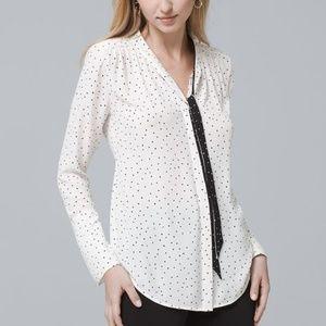 WHBM evelyn white dip dot tie blouse size 6P